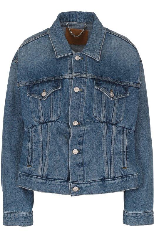Джинсовая куртка свободного кроя с потертостями Balenciaga 446443/TSB06