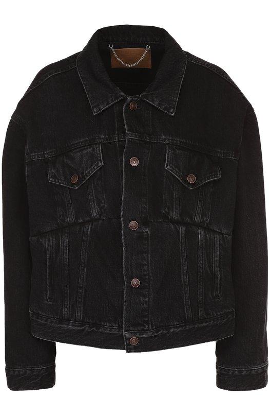 Купить Джинсовая куртка свободного кроя с потертостями Balenciaga, 482125/TUE14, Италия, Черный, Хлопок: 100%;