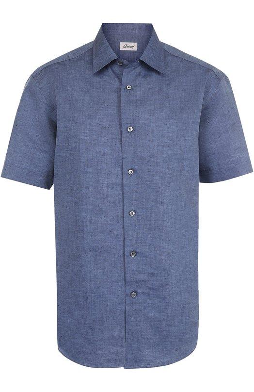 Рубашка из смеси льна и хлопка с короткими рукавами Brioni SC22/P3121