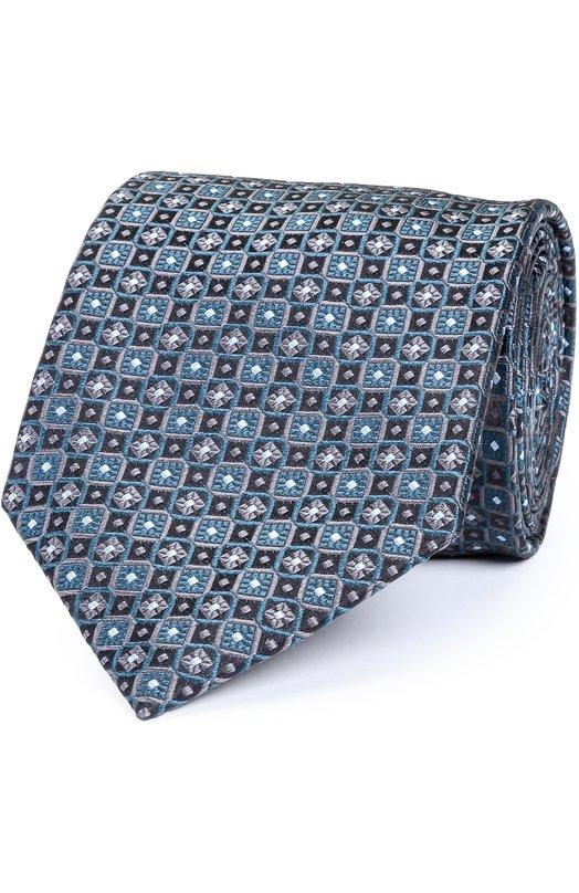 Купить Шелковый галстук с узором Brioni, 062I/06498, Италия, Синий, Шелк: 100%;
