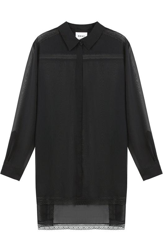 Прозрачная блуза с удлиненной спинкой DKNY P22712D