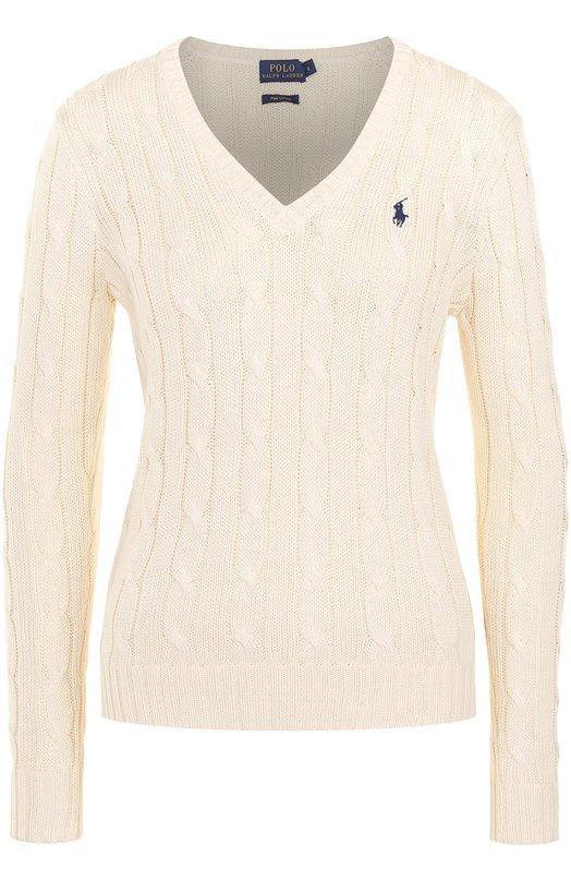 Купить Пуловер фактурной вязки с логотипом бренда Polo Ralph Lauren, 211580008, Китай, Кремовый, Хлопок: 100%;