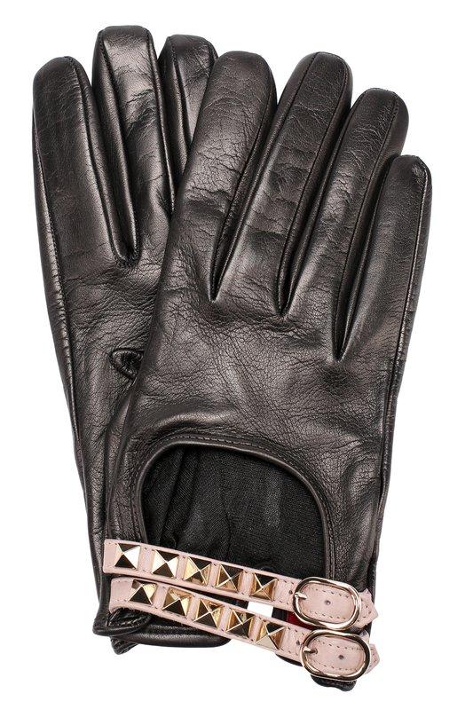 Кожаные перчатки с декором Valentino NW2G0218/NE6