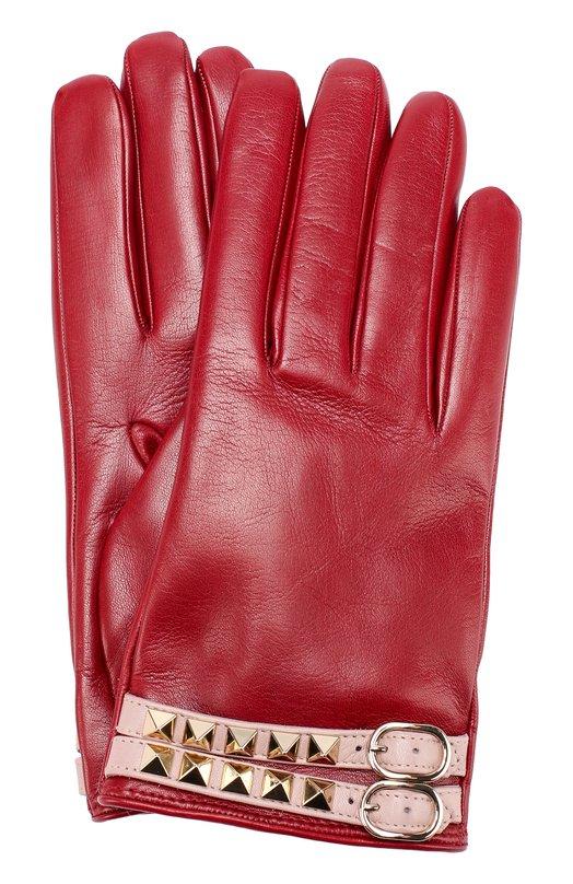 Кожаные перчатки с декором Valentino NW2G0230/NE6