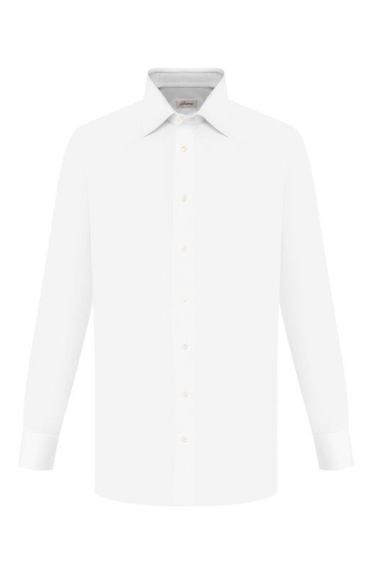 Купить Хлопковая сорочка с воротником кент Brioni, RCL9/PZ034, Италия, Белый, Хлопок: 100%;