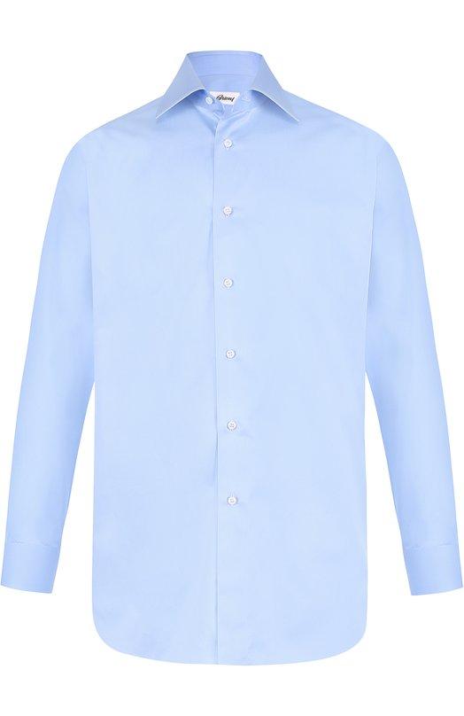 Купить Хлопковая сорочка с воротником кент Brioni, RCL9/PZ042, Италия, Светло-голубой, Хлопок: 100%;