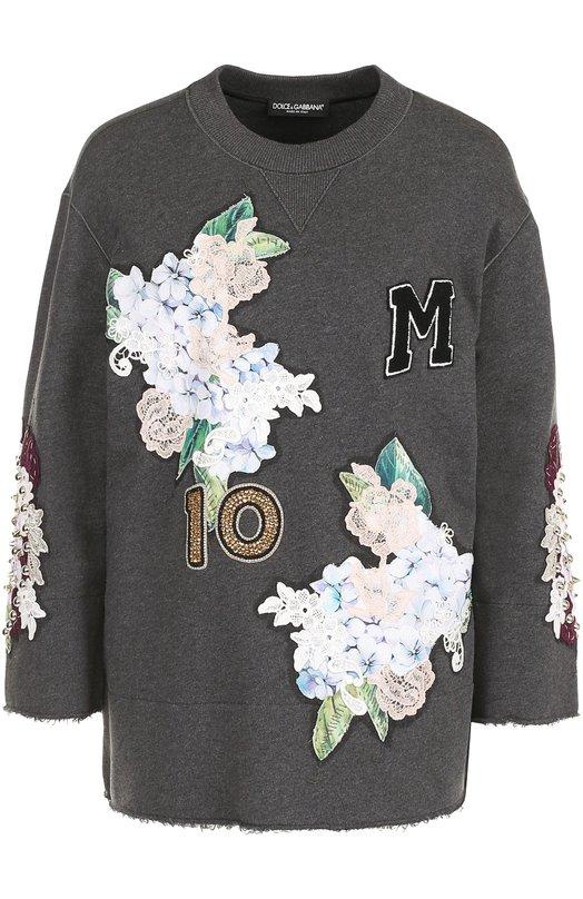 Купить Толстовка с укороченным рукавом и фактурной отделкой Dolce & Gabbana Италия 5172925 0102/F9956Z/FU7DU