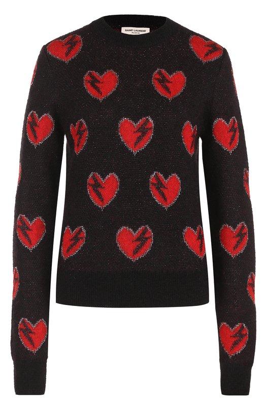 Купить Пуловер прямого кроя с принтом в виде сердец Saint Laurent, 482507/YA2LD, Италия, Черный, Вискоза: 7%; Мохер: 60%; Полиэстер: 4%; Шерсть: 4%; Полиамид: 25%;