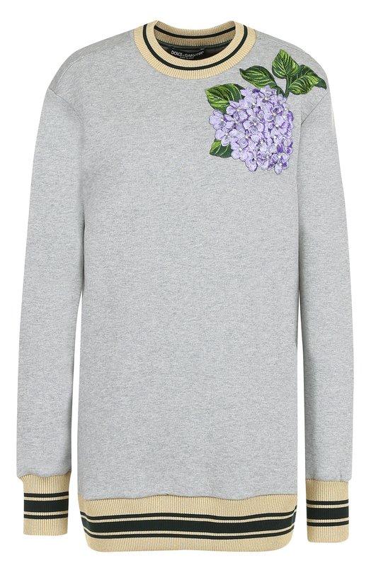 Удлиненный свитшот с цветочной вышивкой Dolce & Gabbana 0102/F9971Z/FU77G