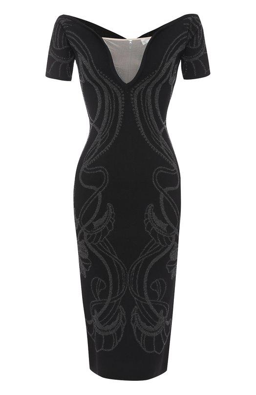 Купить Платье-футляр с открытыми плечами и металлизированной отделкой Alice McCall, AMD2017, Китай, Черный, Вискоза: 39%; Люрекс: 27%; Полиамид: 21%; Эластан: 13%; Отделка-полиамид: 100%;