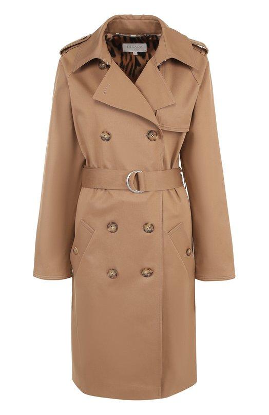 Двубортное пальто с поясом и погонами Escada Sport 5023695