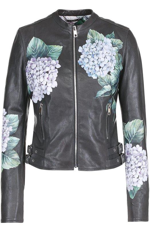 Приталенная кожаная куртка с цветочным принтом Dolce & Gabbana 0102/F9929Z/FUL7L
