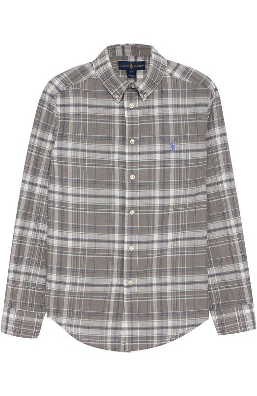 Рубашка из смеси хлопка и льна в клетку с логотипом бренда Polo Ralph Lauren B04/XZ76F/XY76F