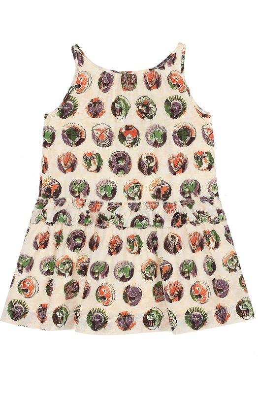 Шелковое мини-платье с принтом и оборкой Burberry 4050070