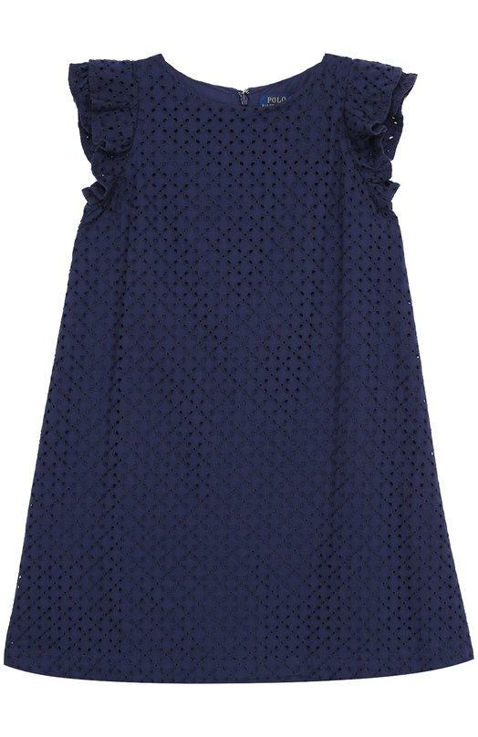 Хлопковое мини-платье А-силуэта с перфорацией и оборками Polo Ralph Lauren G23/XZAMH/XYAMH