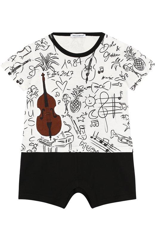 Купить Хлопковый песочник с принтом и аппликациями Dolce & Gabbana, 0131/L1J0M9/G7JJW, Италия, Черно-белый, Хлопок: 100%;