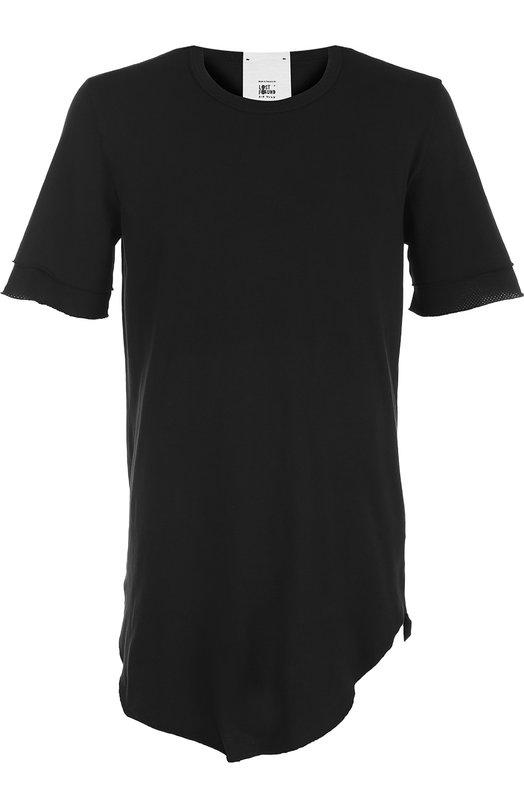 Удлиненная хлопковая футболка асимметричного кроя Lost&Found, 550.174R, Италия, Черный, Хлопок: 100%;  - купить