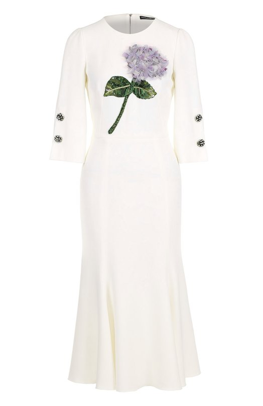 Купить Приталенное платье-миди с цветочной отделкой Dolce & Gabbana Италия 5172927 0102/F65J3Z/FURDV