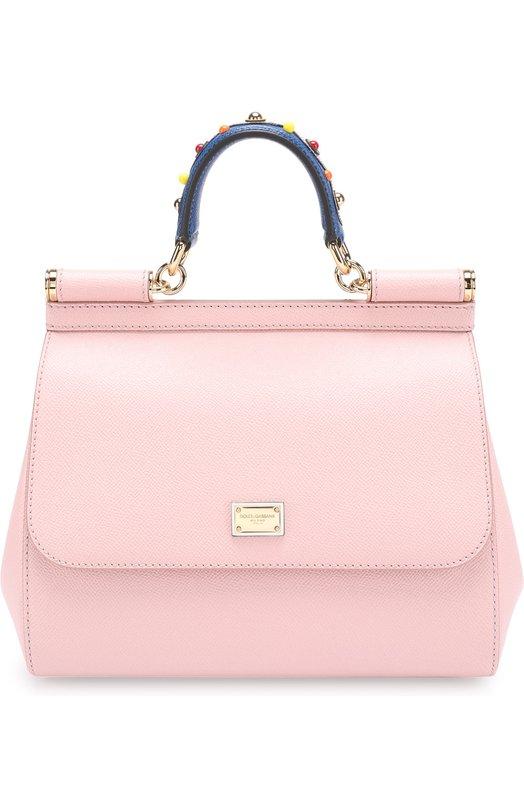 Купить Сумка Sicily medium с декорированной ручкой Dolce & Gabbana, 0116/BB6002/AI352, Италия, Розовый, Кожа натуральная: 100%;