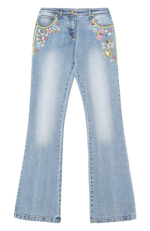 Расклешенные джинсы с вышивкой и бисером Ermanno Scervino 40I/JL06/10-14