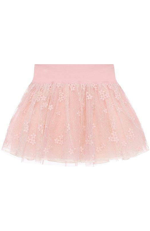 Мини-юбка с вышивкой и широким поясом I Pinco Pallino 1702103008/07464/8-10