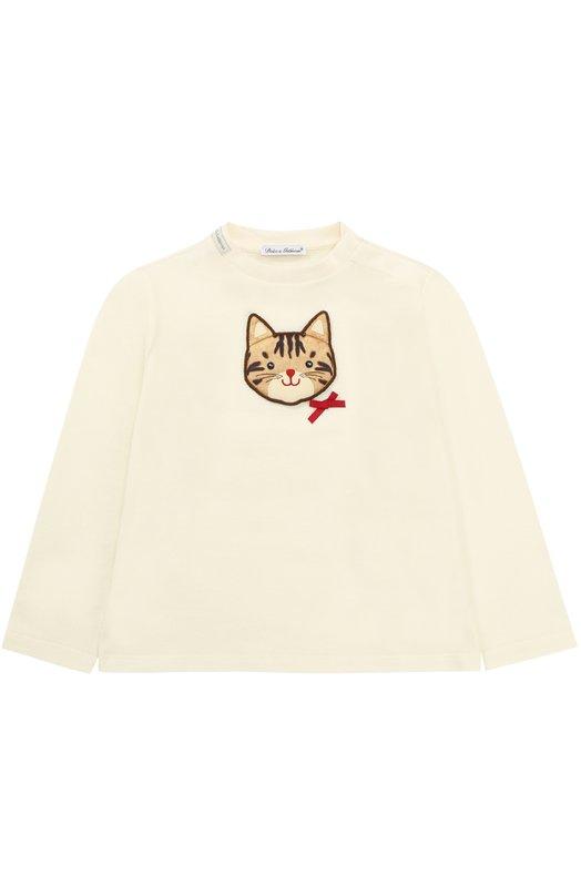 Купить Хлопковый свитшот с аппликацией Dolce & Gabbana, 0131/L2JT4J/G7IIG, Италия, Белый, Хлопок: 100%;