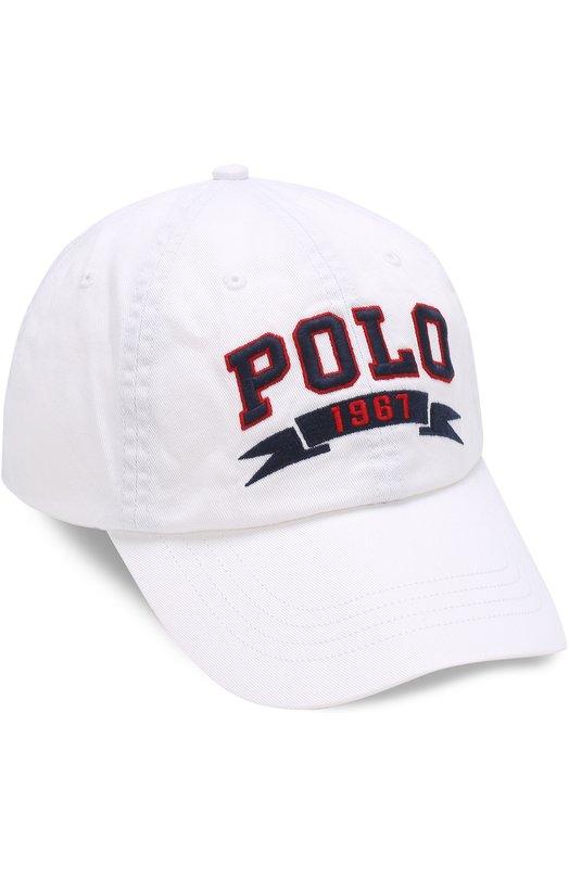 Хлопковая бейсболка с логотипом бренда Polo Ralph Lauren 710661129