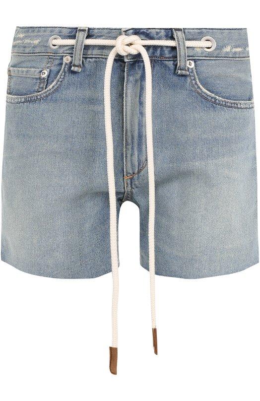 Купить Джинсовые мини-шорты с контрастным поясом Rag&Bone, W1943K165ACH, США, Голубой, Хлопок: 100%;
