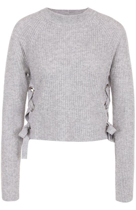 Купить Кашемировый пуловер фактурной вязки со шнуровкой FTC, 676-0200, Китай, Серый, Кашемир: 50%; Лиоселл: 50%;