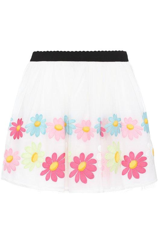 Многослойная юбка с вышивкой и контрастным поясом Monnalisa 119707