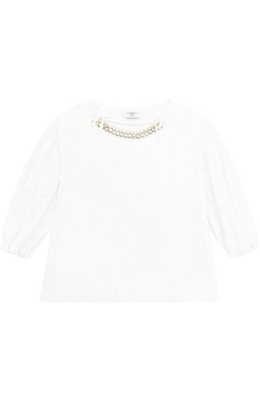 Комбинированная блуза с кристаллами и бантами Monnalisa 179608CC