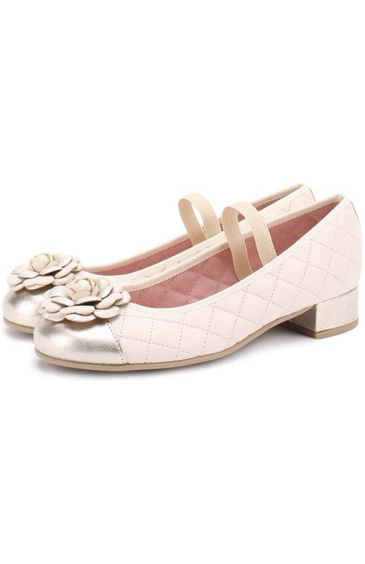 Кожаные туфли с металлизированной отделкой и декором Pretty Ballerinas 44.095/AMI TIN0