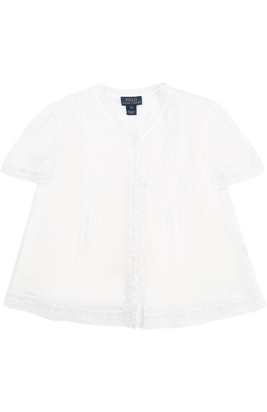 Хлопковая блуза с кружевной отделкой и топом Polo Ralph Lauren G04/XZ6XM/XY6XM