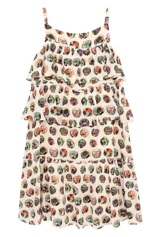 Купить Шелковый сарафан с принтом и оборками на тонких бретельках Burberry, 4048853, Китай, Белый, Шелк: 100%; Подкладка-шелк: 100%;