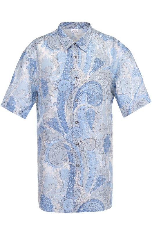 Рубашка из смеси льна и хлопка с короткими рукавами Brioni, SC92/P6125, Италия, Голубой, Лен: 66%; Хлопок: 34%;  - купить