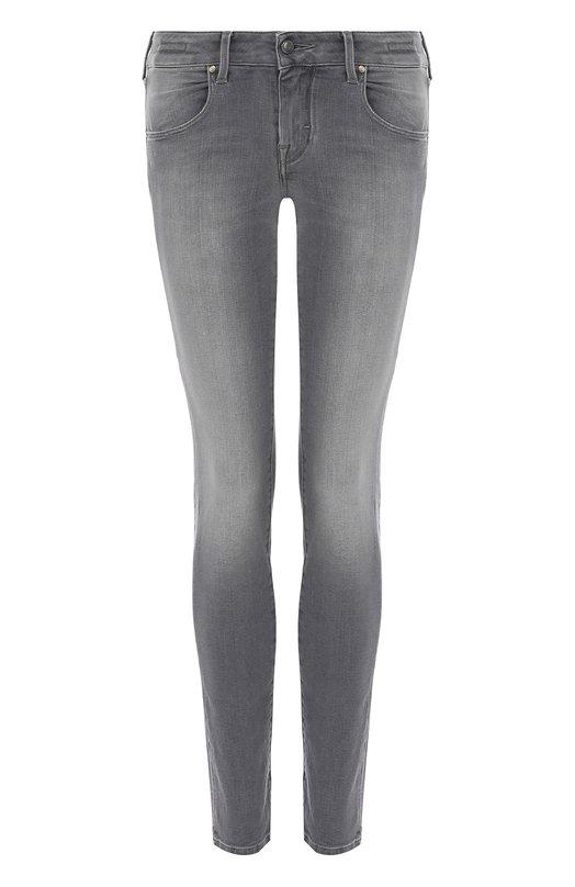 Купить Укороченные джинсы прямого кроя с потертостями Jacob Cohen, PW KAYLIE/00005, Италия, Серый, Хлопок: 98%; Эластан: 2%;
