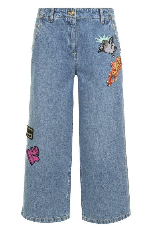 Укороченные джинсы с потертостями и нашивками Kenzo F752PA2516EA