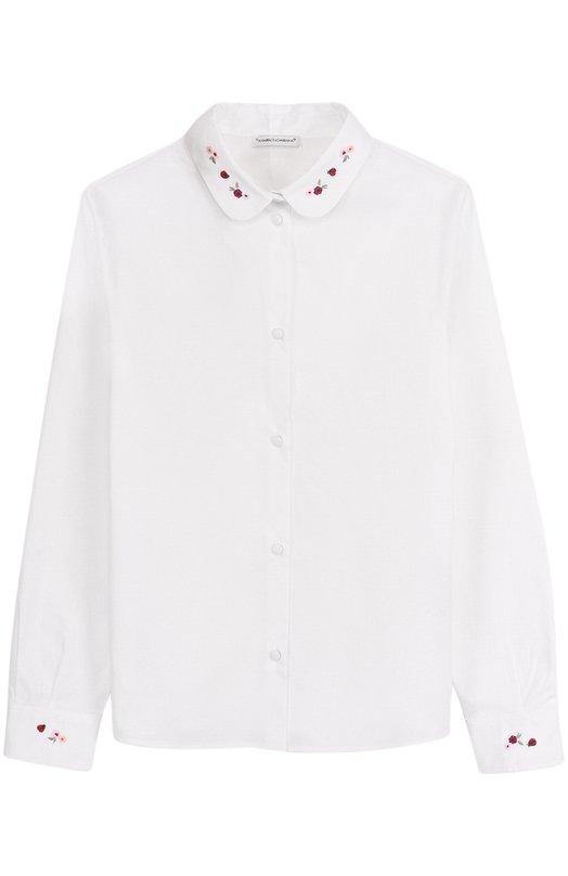 Хлопковая блуза прямого кроя с вышивкой Dolce & Gabbana 0131/L52S95/FUEAJ/8-12