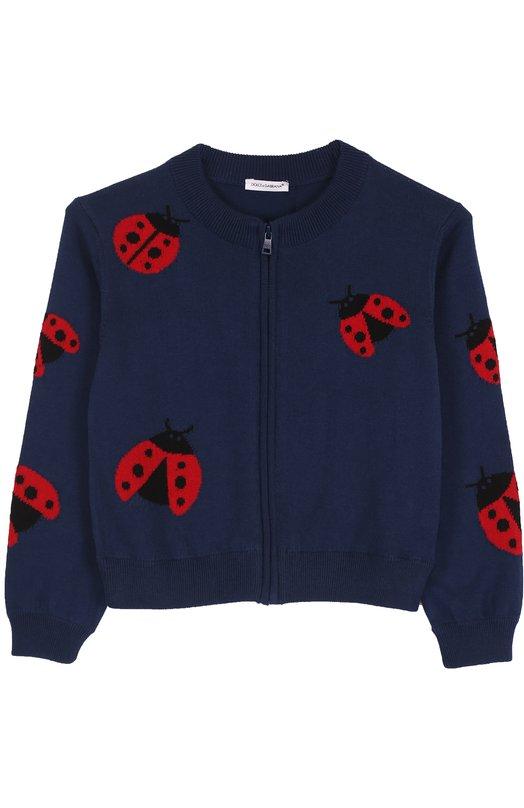 Вязаный кардиган из хлопка с принтом Dolce & Gabbana 0131/L55K13/LK0Q7/2-6