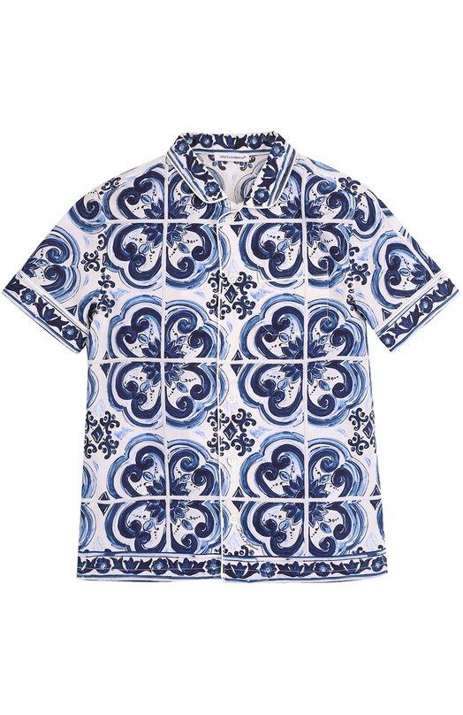 Хлопковая рубашка в пижамном стиле с принтом Dolce & Gabbana 0131/L41S85/FP51A/2-6