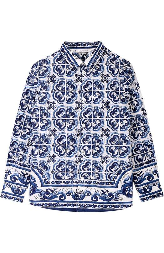 Купить Хлопковая рубашка прямого кроя с принтом Dolce & Gabbana, 0131/L41S83/FP51C/2-6, Румыния, Голубой, Хлопок: 100%;