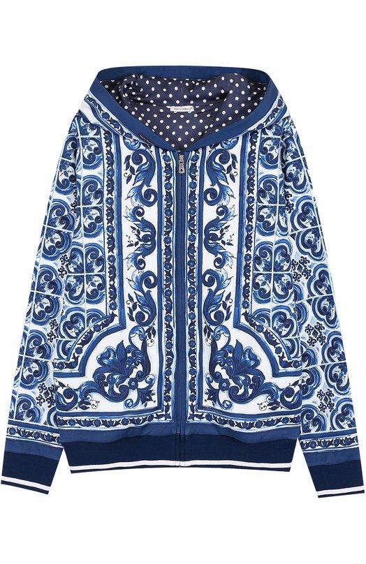 Спортивный кардиган на молнии с принтом Dolce & Gabbana 0131/L4JW0R/G7HSH/8-12