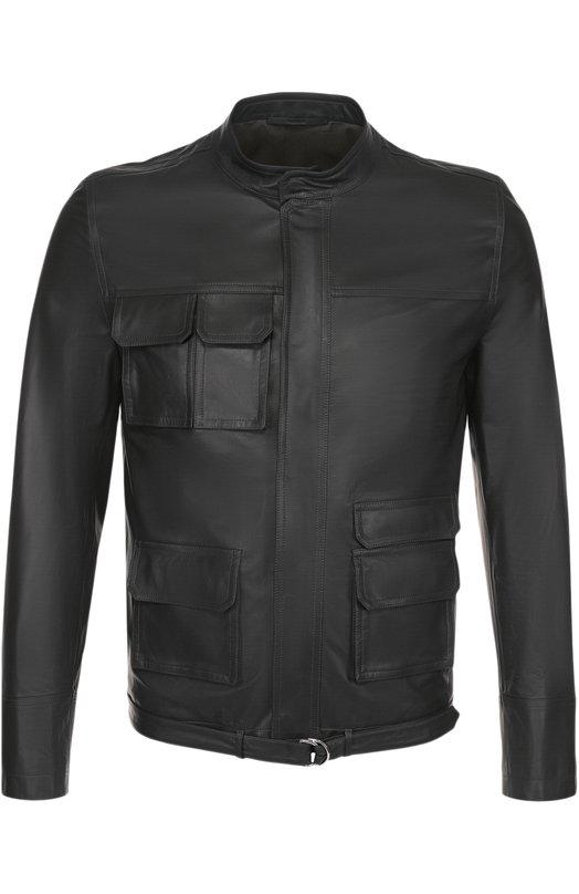 Кожаная куртка на молнии с воротником-стойкой Valentino MV0NA0AP/49A