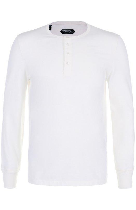 Купить Хлопковая футболка хенли с длинными рукавами Tom Ford, BN402/TFJ890, Италия, Белый, Хлопок: 100%;