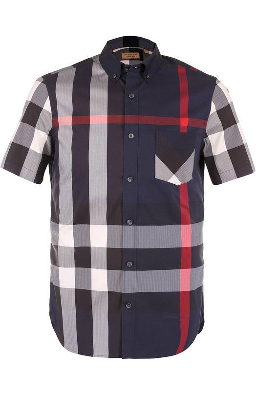 Купить Хлопковая рубашка в клетку с короткими рукавами Burberry, 4045842, Таиланд, Темно-синий, Хлопок: 67%; Эластан: 4%; Полиамид: 29%;