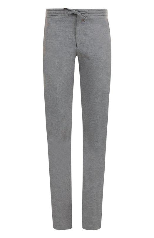 Купить Шерстяные брюки прямого кроя с поясом на резинке Ermenegildo Zegna, UNI11/TT10, Румыния, Светло-серый, Шерсть: 100%;