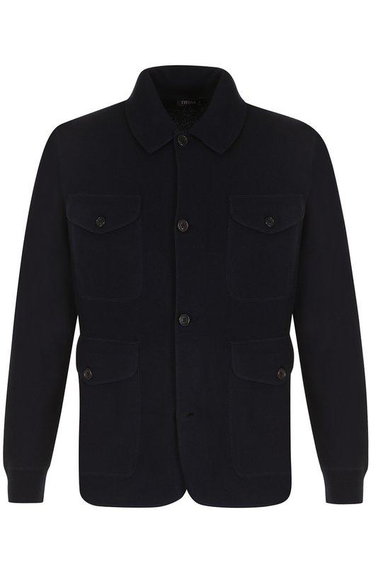 Шерстяной однобортный пиджак с накладными карманами Z Zegna VNM10/ZZ170
