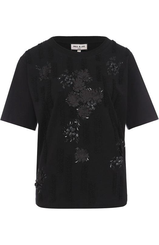 Хлопковая футболка с фактурной цветочной отделкой Paul&Joe FBELLATRIX
