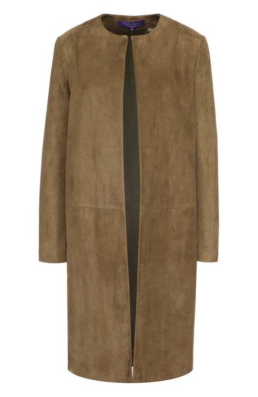 Замшевое пальто прямого кроя с круглым вырезом Ralph Lauren 910/XZD63/XYD63