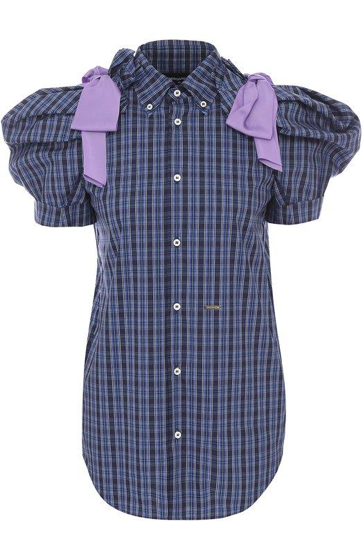 Блуза в клетку с рукавом-фонарик и бантами Dsquared2 S73DL0241/S47809